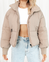 Ayden Mini Skirt (Khaki) - Khaki Green High Waisted Mini Skirt - Women's Skirt - Charcoal Clothing