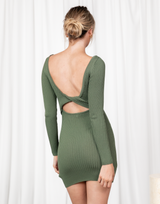Drey Mini Dress (Green) - Ribbed Long Sleeve Mini Dress - Women's Dress - Charcoal Clothing