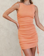 Willow Mini Dress (Orange) - Orange Rouched Mini Dress - Women's Dress - Charcoal Clothing