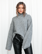 Fineline Knit - Grey Long Sleeved Turtleneck Knit - Women's Top - Charcoal Clothing