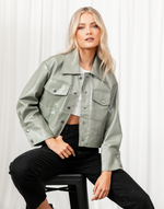 Hastings Jacket (Sage) - Sage Faux Leather Jacket - Women's Jacket - Charcoal Clothing