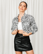 Neveah Jacket - Black and White Zebra Print Cropped Jacket - Women's Jacket - Charcoal Clothing