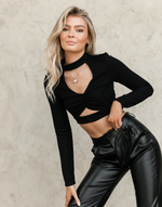 Shania Crop Top - Black Cut out Rouched Crop Top - Women's Top - Charcoal Clothing