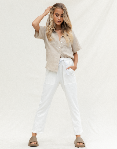Hannah Pants (White) - White High Waisted Pants - Women's Pants - Charcoal Clothing