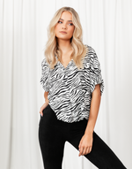 Great Escape Top - Black & White Zebra Print Top - Women's Top - Charcoal Clothing