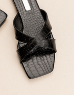 Flynn Slides (Black Croc) by Billini - Charcoal Clothing - Women's Shoes - Charcoal Clothing