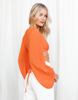 Luisa Crop Top (Orange) - Orange Wrap Long Sleeved Crop Top - Women's Top - Charcoal Clothing