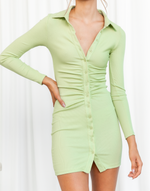 Jordie Mini Dress (Green) - Collared Long Sleeve Mini Dress - Women's Dress - Charcoal Clothing