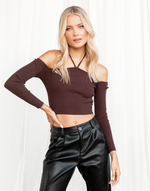 Little Things Crop Top - Chocolate Brown Ribbed Knit Crop Top - Women's Top - Charcoal Clothing