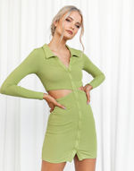 Izi Mini Dress - Green Ribbed Open Back Mini Dress - Women's Dress - Charcoal Clothing
