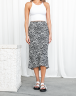Thrill Of It Midi Skirt - Black & White Print Midi Skirt - Women's Skirt - Charcoal Clothing
