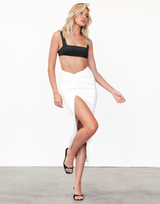 Alae Midi Dress (Black) - Black V-Neckline Midi Dress - Women's Dress - Charcoal Clothing