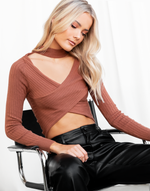 Up All Night Crop Top - Brown Long Sleeve Cut Out Ribbed Crop Top - Women's Top - Charcoal Clothing