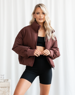 Louisiana Puffer Jacket (Maroon) - Brown Puffer Jacket - Women's Jacket - Charcoal Clothing
