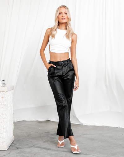 Jayde Crop Top - White Ribbed Open Back Crop Top - Women's Top - Charcoal Clothing