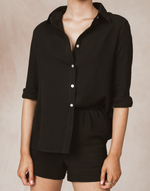 Seanna Shirt (Black) - Black Button Up Long Sleeve Shirt - Women's Top - Charcoal Clothing