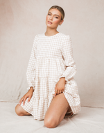 Cecily Mini Dress - Beige and White Gingham Long Sleeved Mini Dress - Women's Dress - Charcoal Clothing