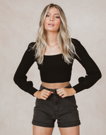 Layla Top (Black) - Black Cropped Knit Top - Women's Top - Charcoal Clothing