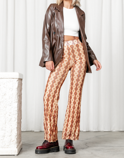 Palm Beach Pants - Brown Toned Floral High Waisted Flare Pants - Women's Pants - Charcoal Clothing