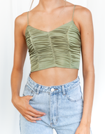 Late Night Crop Top (Green) - Rouched Crop Top - Women's Top - Charcoal Clothing