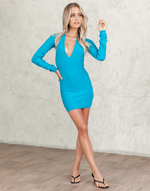 Heavenly Sent Mini Dress (Blue) - Blue Knit Mini Dress With Bolero - Women's Dress - Charcoal Clothing