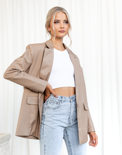 Welcome To The Jungle Blazer (Beige) - Long Sleeve Collared Blazer - Women's Top - Charcoal Clothing