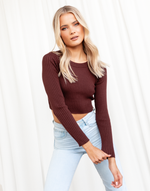 Undivided Love Crop Top - Maroon Long Sleeve Ribbed Crop Top - Women's Top - Charcoal Clothing