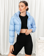 Connah Puffer Jacket - Blue Long Sleeve Puffer Jacket - Women's Jacket - Charcoal Clothing