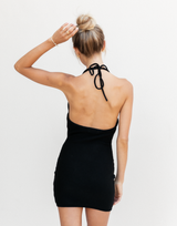 Darcy Mini Dress - Black Halter Mini Dress - Women's Dress - Charcoal Clothing