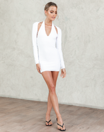 Heavenly Sent Mini Dress (White) - White Knit Mini Dress With Bolero - Women's Dress - Charcoal Clothing