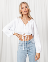 Soul Searching Crop Top - White Long Sleeve Button Up Crop Top - Women's Top - Charcoal Clothing