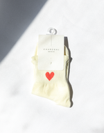 Queen of Hearts Socks (Cream) - Cream Socks with Red Heart - Women's Sock - Charcoal Clothing
