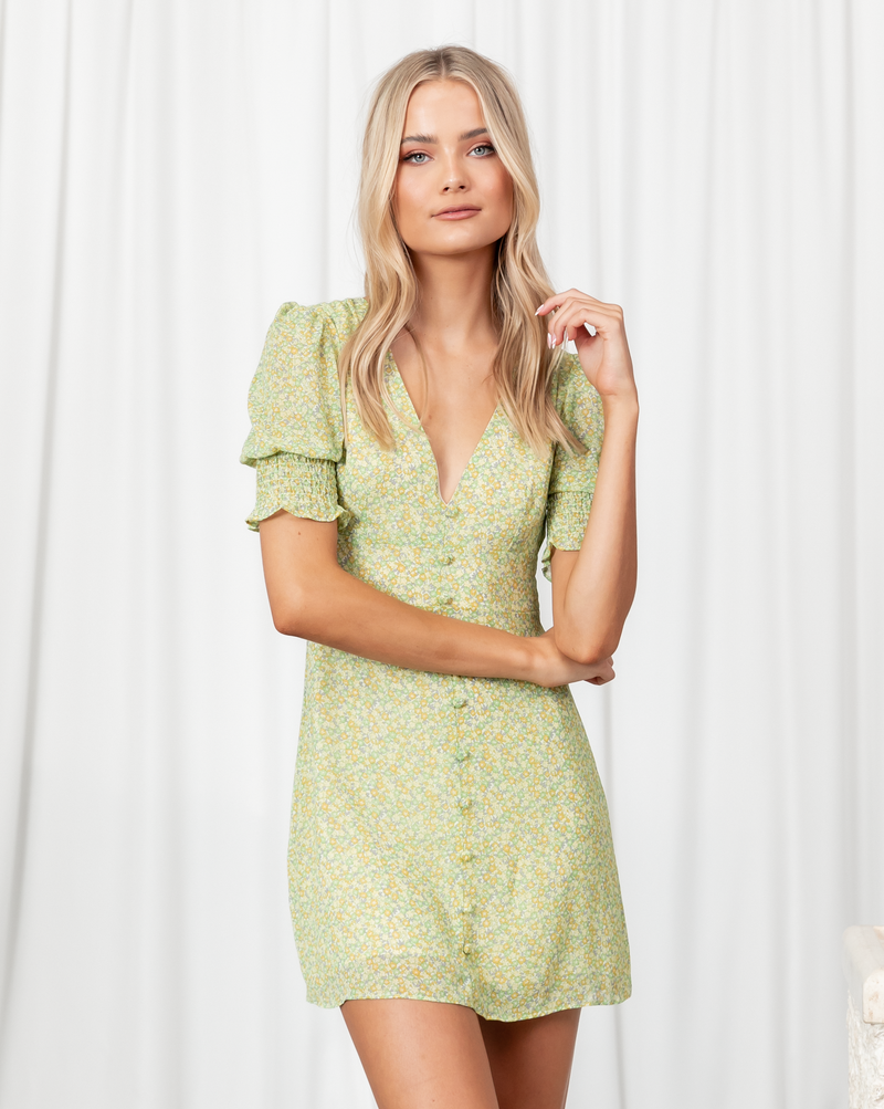 Kensley Mini Dress - Green & Yellow Floral Print Mini Dress - Women's Dress - Charcoal Clothing