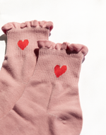 Queen of Hearts Socks (Pink) - Pink Socks with Red Heart - Women's Sock - Charcoal Clothing
