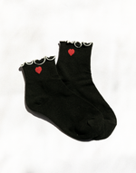Queen of Hearts Socks (Black) - Black Socks with Red Heart - Women's Sock - Charcoal Clothing