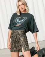 Go The Distance Mini Skirt - Khaki & Black Animal Print Mini Skirt - Women's Skirt - Charcoal Clothing