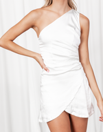 Starstruck Mini Dress - White One Shoulder Silk-Look Mini Dress - Women's Dress - Charcoal Clothing