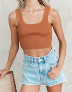 Willows Crop Top (Brown) - Brown Knit Ribbed Crop Top - Women's Top - Charcoal Clothing