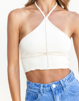 Alaia Crop Top - Beige Halter Crop Top - Women's Top - Charcoal Clothing