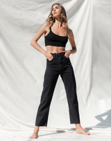 Kaya Jeans - Black High Waisted Denim Jeans - Women's Pants - Charcoal Clothing