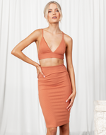 Called It Crop Top - Basic Orange Ribbed Bralette Crop Top - Women's Top - Charcoal Clothing