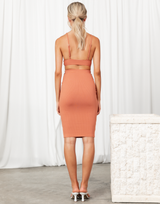 Called It Midi Skirt (Orange) - Basic Orange Ribbed Midi Skirt - Women's Skirt - Charcoal Clothing