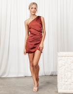 Starstruck Mini Dress - Rust One Shoulder Silk-Look Mini Dress - Women's Dress - Charcoal Clothing