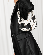 Be Free Bag - Cream & Black Cow Print Handbag - Women's Bag - Charcoal Clothing