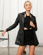 Dare To Dream Blazer - Black Faux Leather Blazer - Women's Top - Charcoal Clothing
