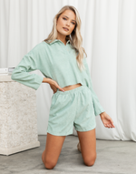 Eastbound Set (Mint) - Mint Green Shirt and Shorts Set - Women's Set - Charcoal Clothing