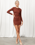 Alizah Mini Dress - Brown Ribbed Cut Out Side Mini Dress - Women's Dress - Charcoal Clothing