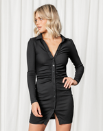 Jordie Mini Dress (Black) - Collared Long Sleeve Mini Dress - Women's Dress - Charcoal Clothing