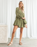 Novah Mini Dress (Khaki) - Long Sleeved Button Up Mini Dress - Women's Dress - Charcoal Clothing