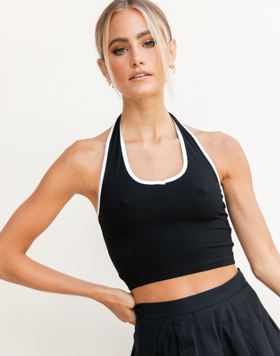Nicole Top - Black and White Halter Top - Women's Top - Charcoal Clothing